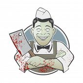 stock photo of serial killer  - cartoon butcher with bloody cleaver in a badge - JPG