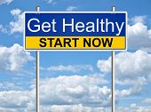 stock photo of sign board  - Get healthy - JPG