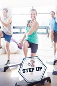 image of step aerobics  - The word step up and instructor with fitness class performing step aerobics exercise against hexagon - JPG