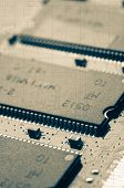 foto of microchips  - Microchips and circuit stamps to vintage style - JPG