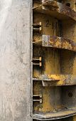 image of formwork  - Rusty metal formwork used for building the concrete constructions - JPG