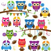 stock photo of jock  - Vector Collection of Cute Football or Sports Themed Owls - JPG