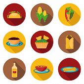 stock photo of mexican fiesta  - Set of mexican food icons for your design - JPG
