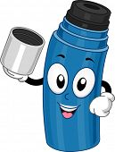 foto of thermos  - Mascot Illustration Featuring a Thermos Holding a Cup - JPG