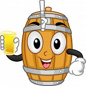 picture of keg  - Mascot Illustration of a Beer Keg Holding a Glass of Beer - JPG