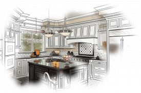 foto of combinations  - Beautiful Custom Kitchen Design Drawing and Photo Combination - JPG