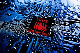 image of sign-boards  - a computer virus sign on circuit board - JPG