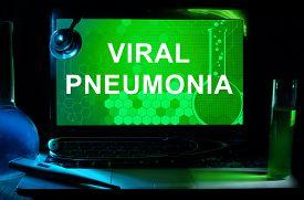image of pneumonia  - Computer with words Viral pneumonia - JPG