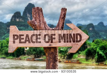Peace of Mind direction sign with exotic background