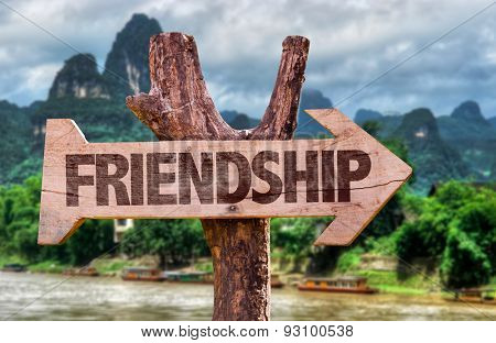 Friendship direction sign with exotic background