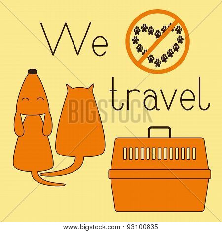 Cat, Dog And Pet Carrier