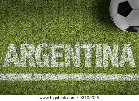 Soccer field with the text: Argentina