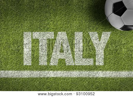 Soccer field with the text: Italy