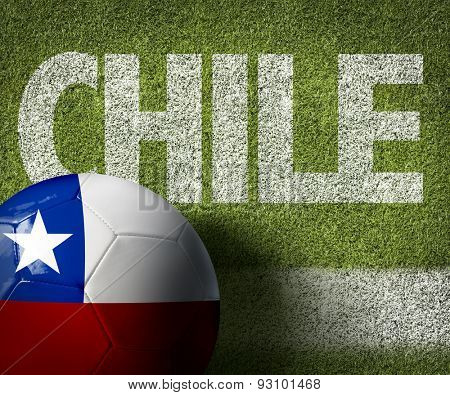Soccer field with the text: Chile