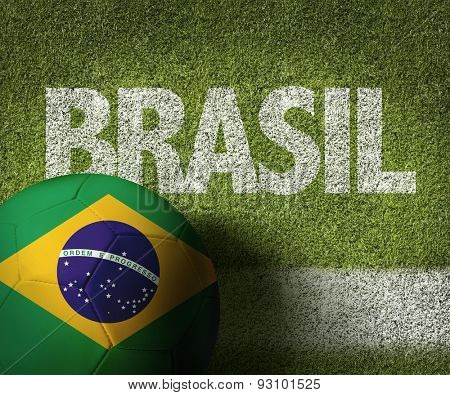 Soccer field with the text: Brazil (in Portuguese)