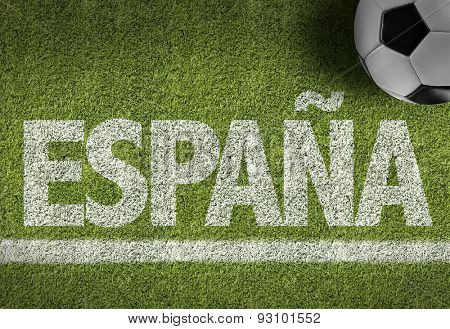 Soccer field with the text: Spain (in Spanish)