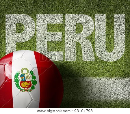 Soccer field with the text: Peru