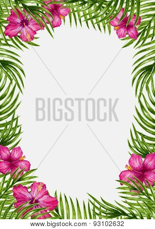 Palm leaves and tropical flowers background. Tropical greeting card.