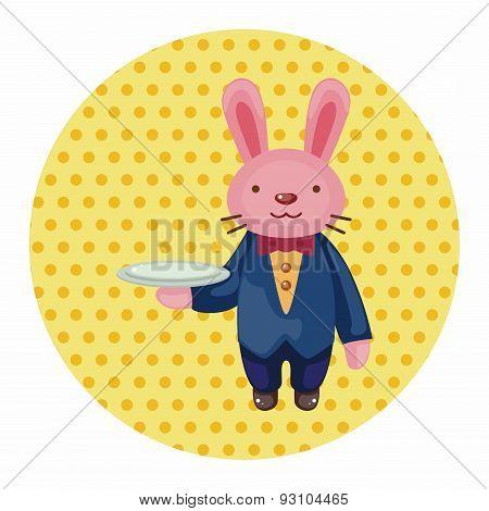 Animal Rabbit Waiter Cartoon Theme Elements