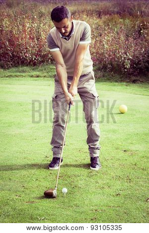 Vintage Golf Player Stance