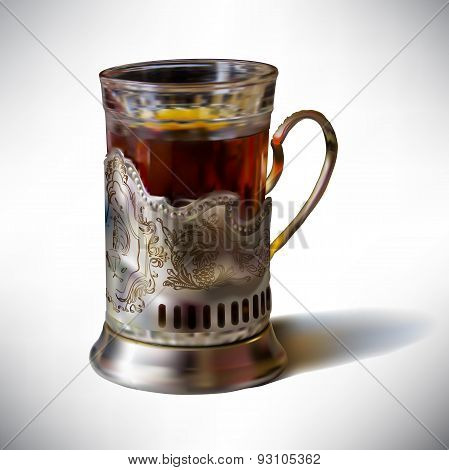 Photorealistic vector illustration cup of tea in an old cup hold