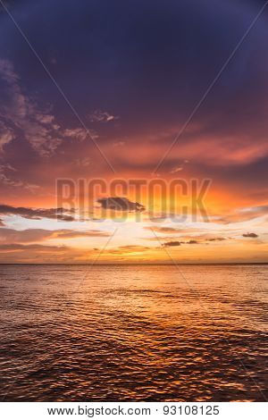 Beautiful Sea And Cloudy Sky In Sunset