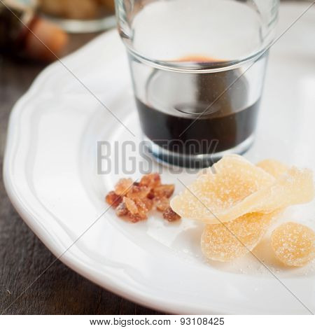 Herbal Liqueur With Crystallized Ginger And Brown Rock Sugar