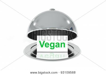Opened Silver Cloche With White Sign Vegan