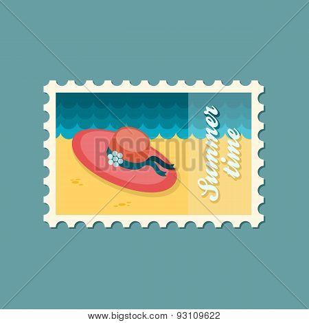 Beach Hat Flat Stamp, Summertime