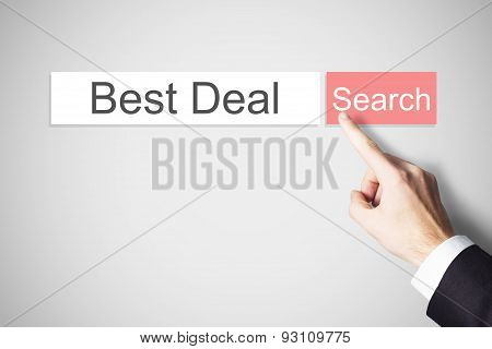 Businessmans Finger Pushing Web Search Button Best Deal