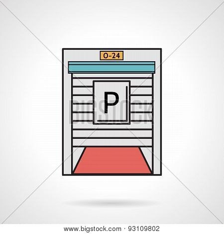Parking gate flat color vector icon
