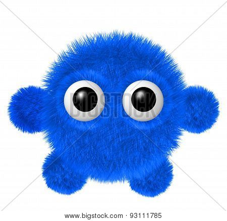 Little blue furry monster with arms and legs. Fluffy character with big eyes.