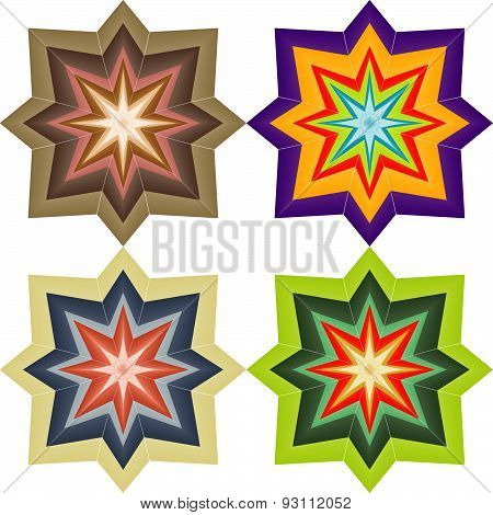 Four Abstract Colored Symmetric Star