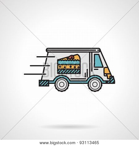 Dessert delivery flat color vector icon