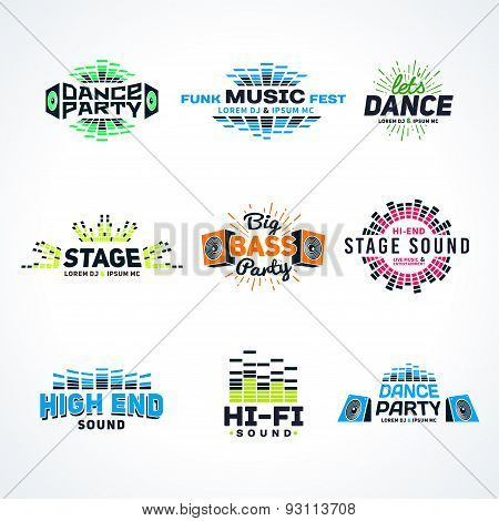 Sixth set music equalizer emblem vector on light background. Modern colorful logo collection. Sound