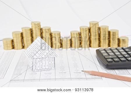 House With Step Pile Of Gold Coins As Background