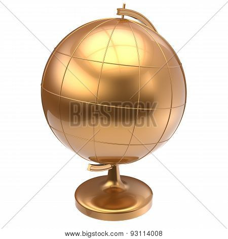 Globe Golden Blank Planet Earth Global Geography Icon