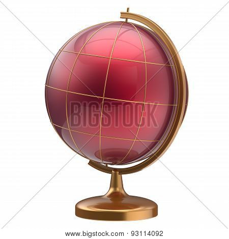 Red Globe Blank Planet Mars Global Geography Studying Icon