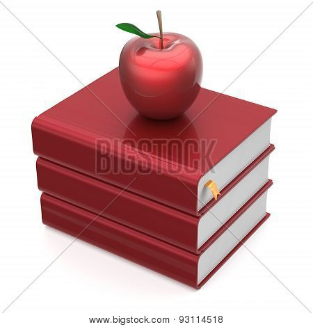 Book Red Apple Blank Textbooks Stack Education Icon