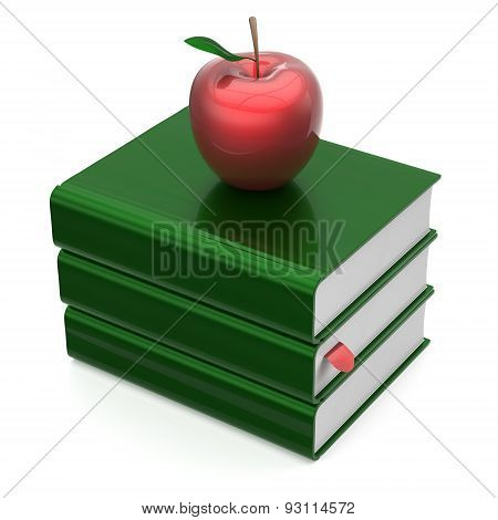 Books Green Apple Red Blank Bookmark Textbooks Stack Icon