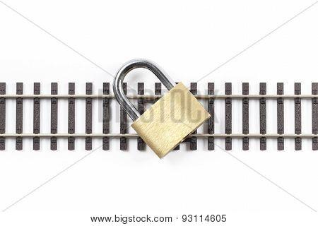 Railway Tracks With Padlock