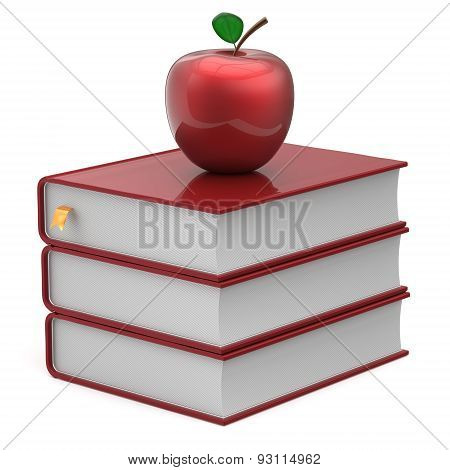 Books And Apple Red Blank Bookmark Textbook Studying Icon