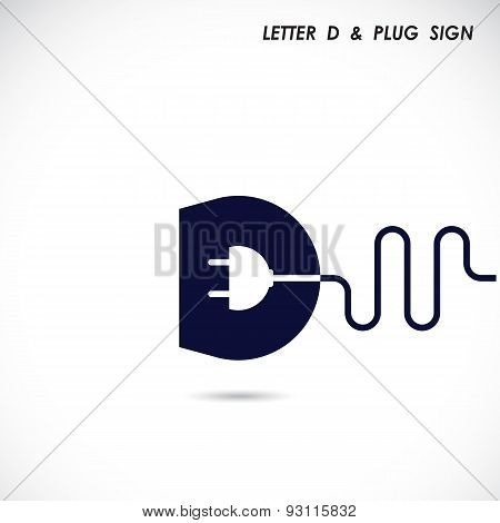 Creative Letter D Icon Abstract Logo Design Vector Template With Electrical Plug Symbol. Corporate B