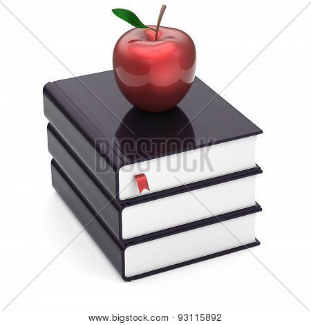 Books Black Three 3 And Red Apple Textbook Stack Icon