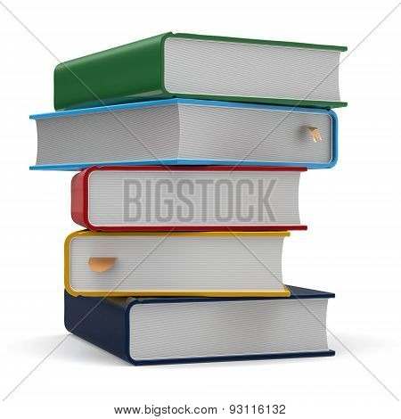 Textbook Stack Books Five 5 Blank Different Colorful Icon