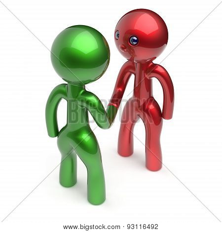 Two Men Handshake Cartoon Characters Shaking Hand Icon