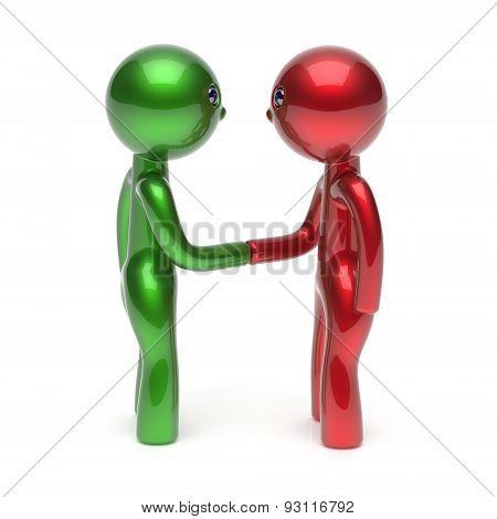 Handshake Two Men Cartoon Characters Shaking Hand Icon