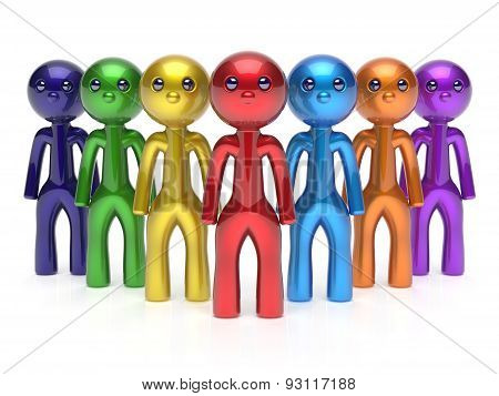 Teamwork Characters Individuality Men Crowd Leadership Icon