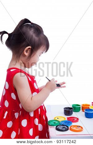 Asian Girl Painting Her Palms Using Drawing Instruments, Creativity Concept
