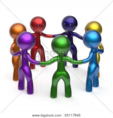 Teamwork Social Network Circle People Diverse Characters